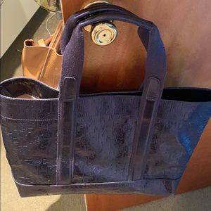 Navy blue Tory Burch logo embroidered tote